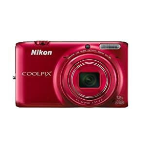 Nikon Coolpix S6500 16MP Point and Shoot Camera (Red) with 12x Optical Zoom, 4GB Card , Camera Case and HDMI Cable