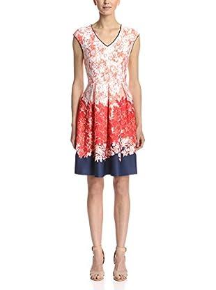 Sandra Darren Women's V-Neck Printed Fit-and-Flare Dress
