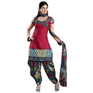 Variation Red Patiala Dress Material For Women