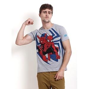Kook N Keech Marvel Men Grey Melange Spider-Man Printed T-Shirt