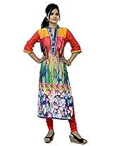 Charu Boutique Multicolor Glaze Cotton Printed Long Kurti