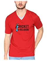 Campus Sutra Red Double V Neck Tshirt Cricket Religion