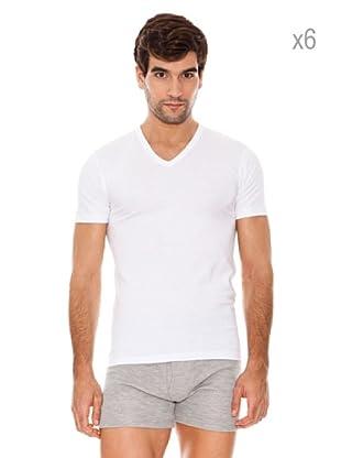 ABANDERADO Pack x 6 Camisetas Manga Corta Jersey (Blanco)