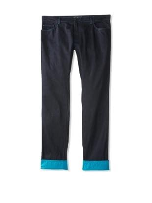 Salvatore Ferragamo Men's Jeans with Contrast Cuff (Navy)