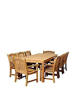 Amazonia Teak Pittsburgh 9-Piece Rectangular Dining Set, Brown