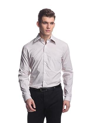 Oxxford Men's Point Collar Dress Shirt (Tan/Brown/Purple Check)