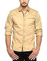 Spykar Men Cotton Beige Casual Shirt (Large)