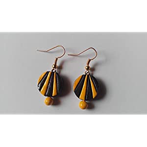Shingles d'sire Small Dangler Earrings in Black & Yellow