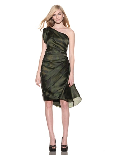 Christian Siriano Women's Orchid Print Organza One-Shoulder Dress (Black Orchid Print)