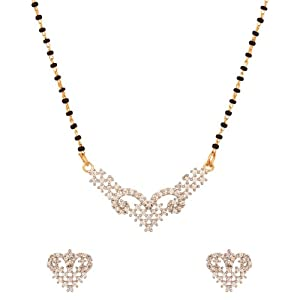 Voylla Gold Plated Exquisite Cz Mangalsutra Set With Single String