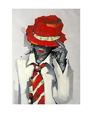 Legendarte Leinwandbild Ragazza Con Cappello E Cravatta
