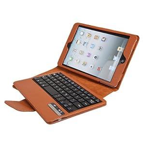 koolertron Apple iPad Mini 極薄PUレザーケースカバー スタンド機能付き+液晶保護シート+タッチペン+防塵プラグ+耳栓 【全四色】ブラウン