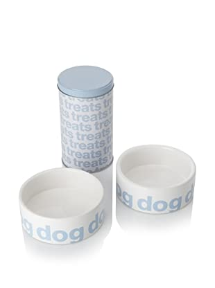 Harry Barker Set of 2 Helvetica Food Bowls with Treat Tin (Blue)