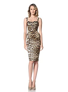 Just Cavalli Women's Animal Print Bustier Dress (Brown Animal Print)