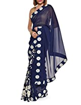 Embroidered luxe blue georgette saree