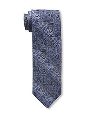 Bruno Piattelli Men's Paisley Silk Tie, Blue Charcoal
