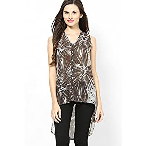 Light Brown Chiffon Print Top With Uneven Hem