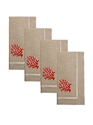 Henry Handwork Set of 4 Red Coral French Knot Napkins, Natural