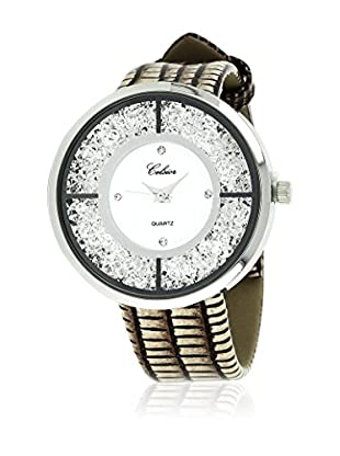 SHINY CRISTAL Uhr mit Japanischem Quarzuhrwerk  silber/braun/weiß 40 mm