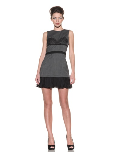 D&G by Dolce & Gabbana Women's Sleeveless Dress with Lace Appliqu茅 (Grey)
