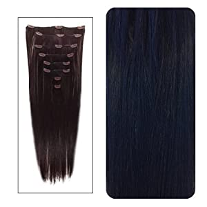 """World Pride Fashionable 23"""" Straight Full Head Clip in Hair Extensions-Dark Brown"""