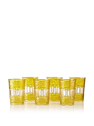 Found Objects Set of 6 Lalla Moroccan Glasses (Yellow)