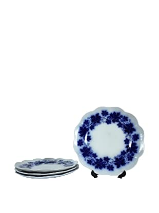 Set of 4 Flow Blue Vinranka Lunch Plates, Blue/White