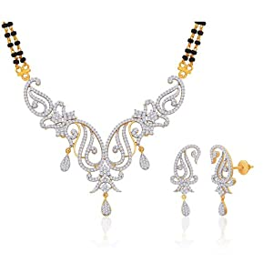 "Peora Valentine 18 Karat Gold Plated Cubic Zirconia ""Alaknanda"" Mangalsutra Earrings Set for Women(PM87GJ)"