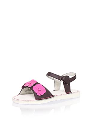 L'Amour Shoes Kid's Flower Ankle-Strap Sandal (Brown)