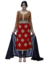 JINAAM DRESSES MICRO VELVET UNSTITCHED SUIT WITH DYED BAMBERG CHIFFON DUPATTA