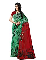 Green Color Georgette Printed Saree with Blouse 7020