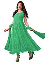 Ninecolours Net Semi Stitched Anarkali Salwar Kameez In Green Colour