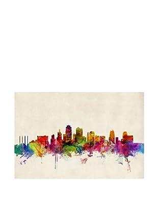 Trademark Fine Art Charlotte Watercolor Skyline by Michael Tompsett