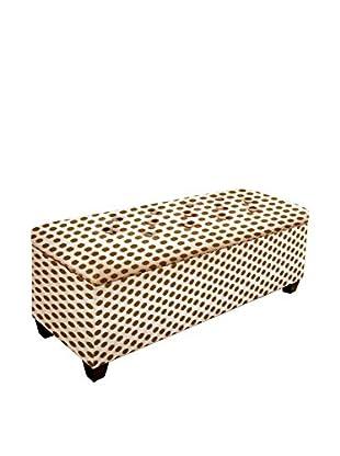 MJL Furniture Sole Secret Large Upholstered Shoe Storage Bench, Brown/White