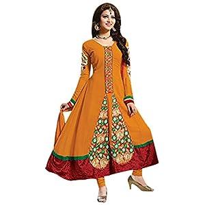 Urvashi Rautela Orange Embroidered Designer Anarkali Suit