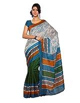 Texclusive Women's Cotton Silk Saree with Blouse Piece (Multi-Coloured)