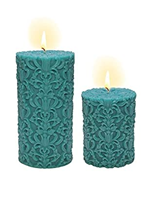 Volcanica Set of 2 Turquoise Blue Paramount Pillar Candles
