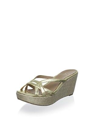 Delman Women's Chaya Platform Sandal (Light Gold)