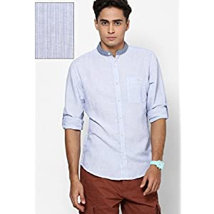 Full Sleeve Shirt In Stripes With Contrast Collar