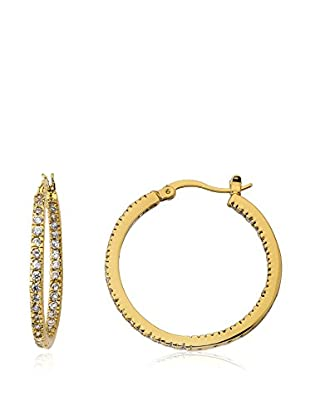 Riccova Retro Inside-Out CZ Hoop Earrings, Gold