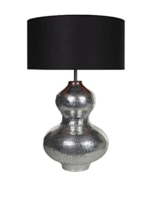 Filament Curved Metal Table Lamp with Contrast Shade, Silver/Black/Orange