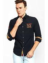 Printed Navy Blue Casual Shirt