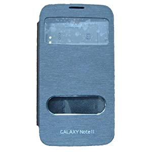 Premium Leather Caller Id Flip Case Cover for Samsung Galaxy Note 2 N7100 - Black