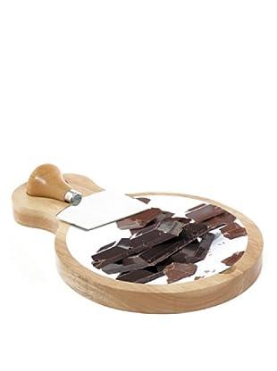 Easy Life Design Tagliere in Legno e Coltello per Cioccolato con Base in Vetro Ø 17 cm