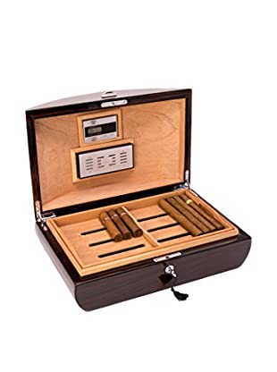 Bey-Berk Lacquered Wood Cigar Humidor, Ebony