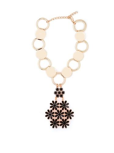 Tuleste Market Floral Pendant Necklace, Rose Gold/Black
