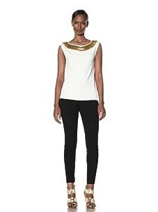 Moschino Cheap and Chic Women's Sleeveless Sweater with Hairpin Trim (Ivory)