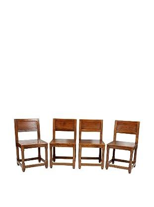 Set of 4 Leuven Oak Chairs, Brown