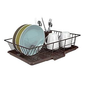 Home Basics 3-Piece Dish Drainer Set, Bronze