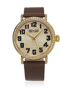 SO & CO New York Uhr mit japanischem Quarzuhrwerk  braun/goldfarben 40 mm